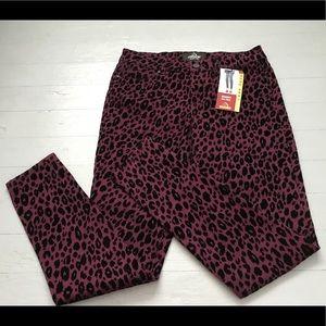 NWT Jordache leopard mid rise skinny pant